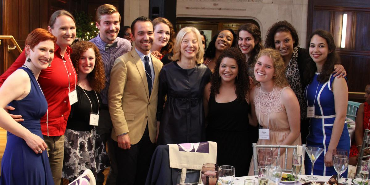 Amy Gutmann with students at PWC 40th Gala