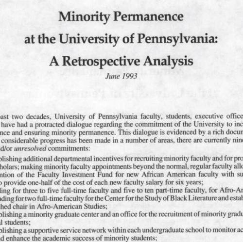 Minority Permanence Report