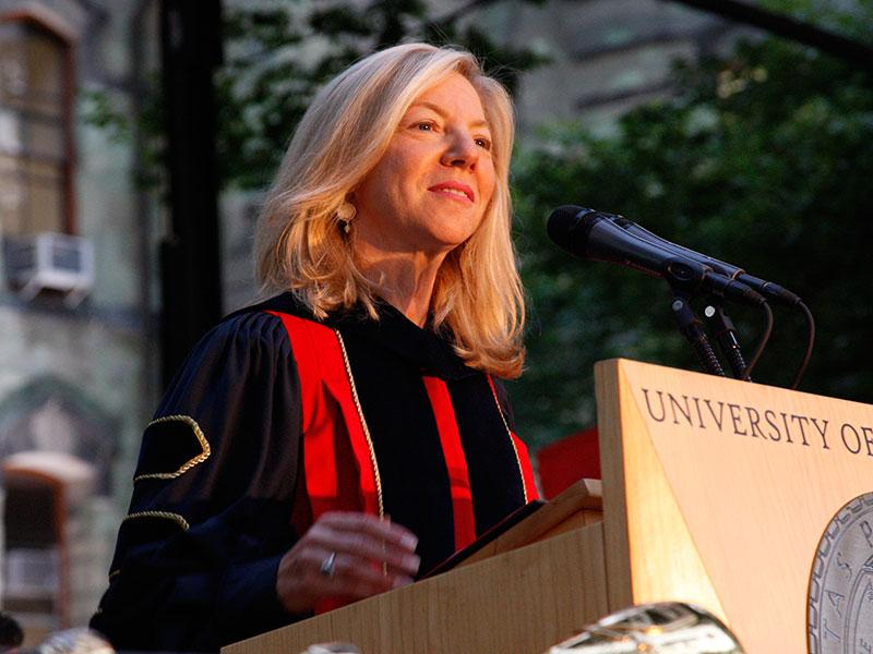 President Amy Gutmann in regalia
